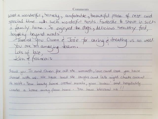 Hand written guest review